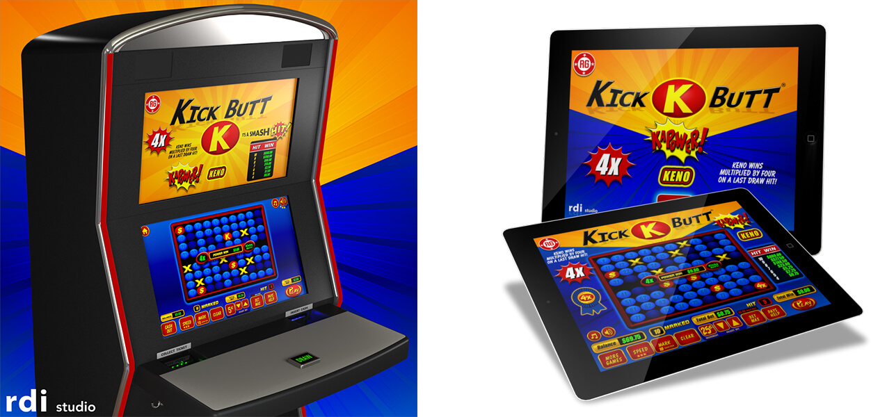 Art Production Services in support of RDI Studio's Kick Butt Keno mobile casino gaming app