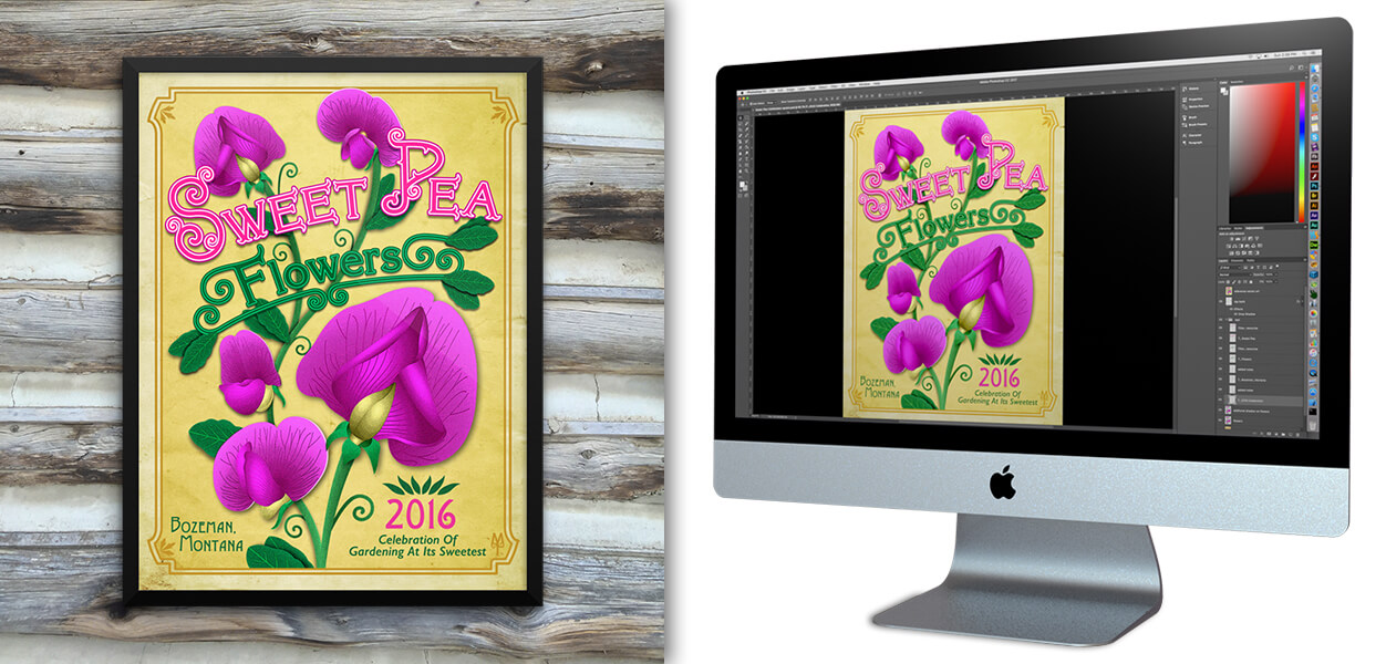 2016 Sweet Pea Flowers poster, by Montana Treasures