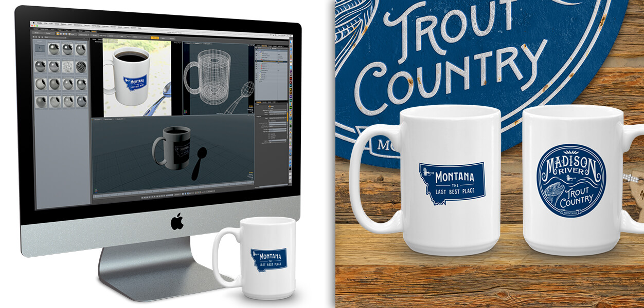 Madison River Trout Country coffee mugs, by Montana Treasures